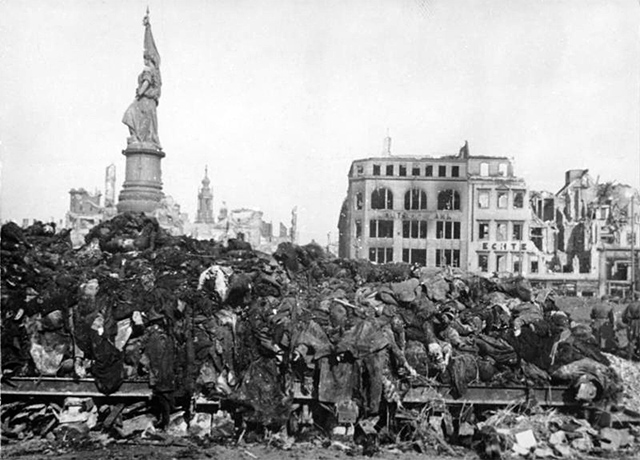 Destruction after the Allied bombings of Dresden in World War II