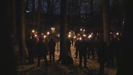 Nordic Resistance Movement activists attend an anniversary memorial for the victims of the Dresden bombings