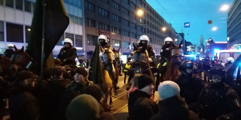 Police block National Socialist march in Helsinki, Finland, 6/12/18
