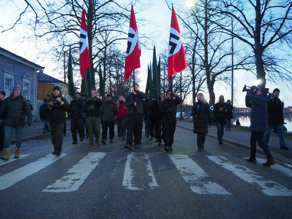 National Socialists march in Helsinki on Finland's Independence Day, 6 December 2018