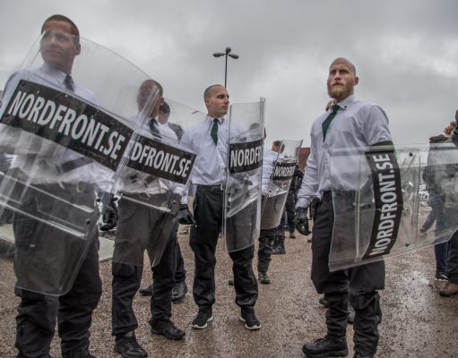 Nordic Resistance Movement marchers on May Day 2018 in Ludvika, Sweden