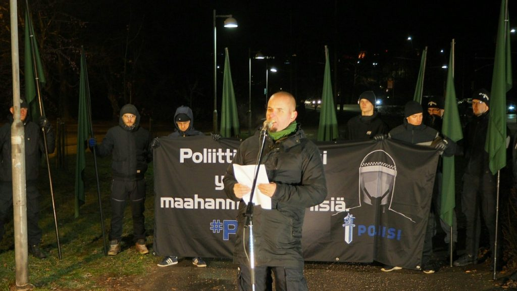 Simon Lindberg speaks at National Socialist march on Finland's Independence Day, 6 December 2018