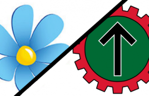 Sweden Democrats and Nordic Resistance Movement logos