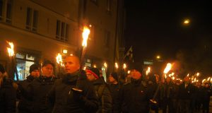 Nordic Resistance Movement members at the 612 Independence March in Helsinki, 2018
