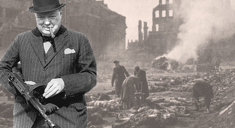 Winston Churchill standing with a Tommy gun in front of a ruined city