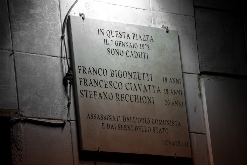 A plaque dedicated to MSI members murdered by communists and police in Rome in 1978