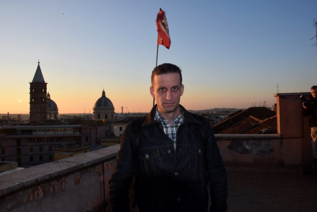 Henrik Pihlstrom on the roof of CasaPound HQ