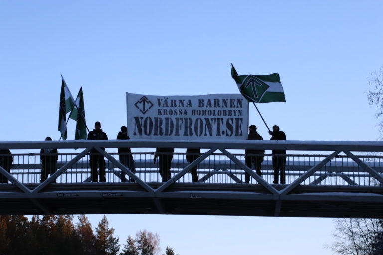 "Nest 5 Nordic Resistance Movement activists hold a banner reading ""Protect the Children – Crush the Homo Lobby"" on a bridge in Borlänge, Sweden"