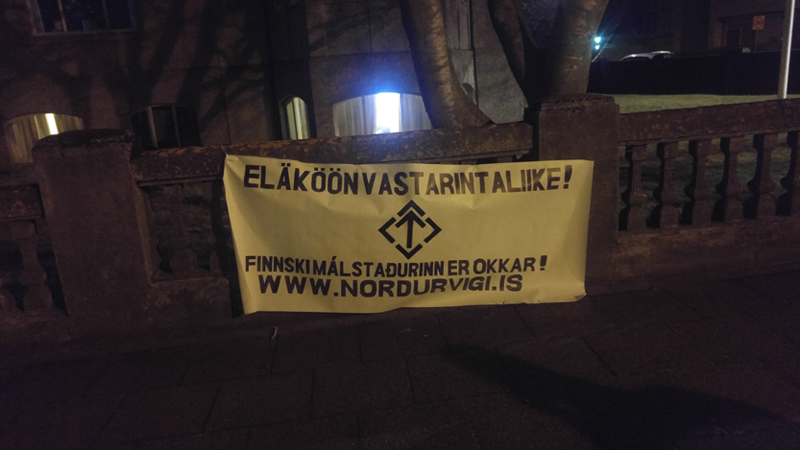 A Nordic Resistance Movement banner in Iceland supporting the organisation's Finnish branch on the day of its ban