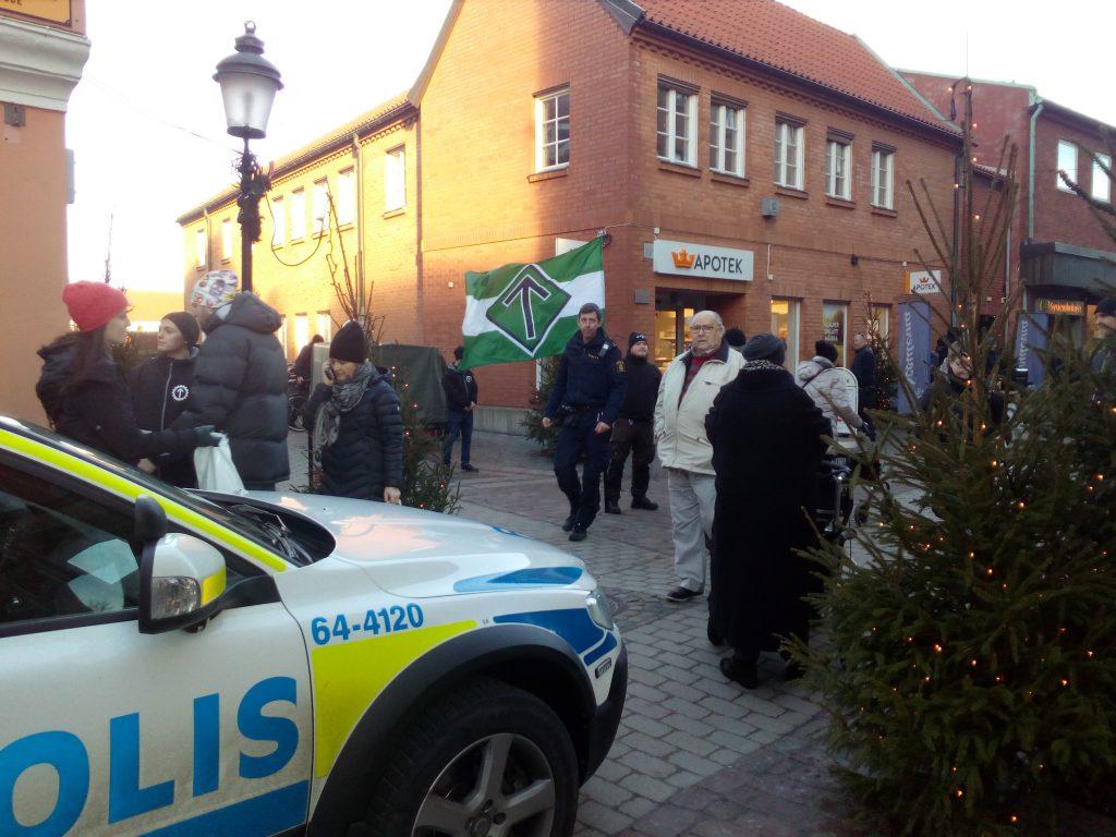 Nordic Resistance Movement activists leaflet Ystad, Sweden