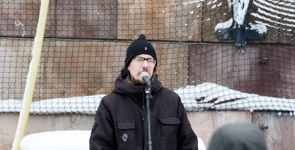Dan Park speaks at Stockholmers for a Sovereign Sweden rally, 3 February 2019