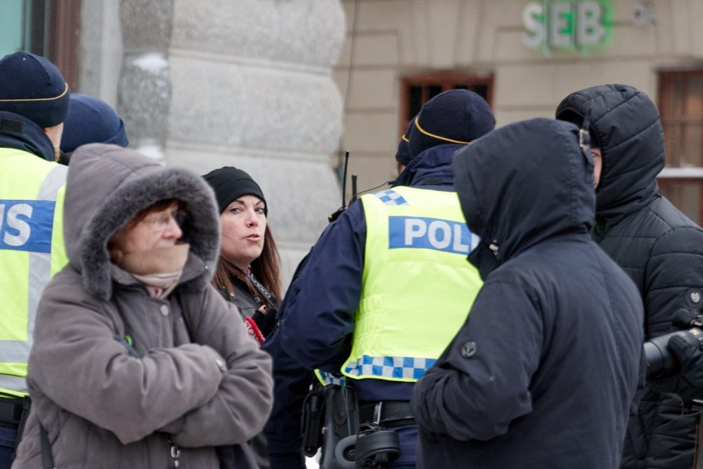 Sara Leifsdotter is taken away by police at Stockholmers for a Sovereign Sweden rally, 3 February 2019