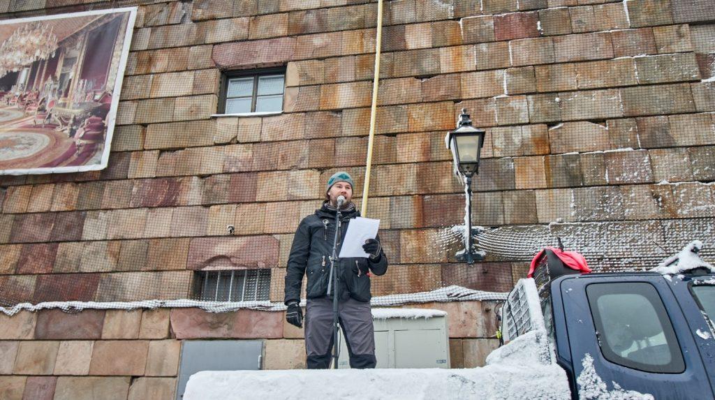 Pär Sjögren speaks at the Stockholmers for a Sovereign Sweden rally, 3 February 2019