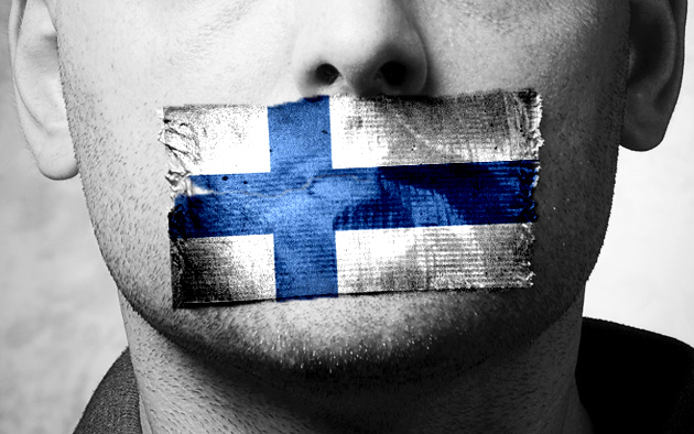 Finnish flag censoring speech