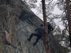 Nordic Resistance Movement members abseiling