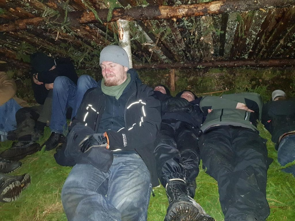 Nest 8 Nordic Resistance Movement activists spend the night in a woodland shelter