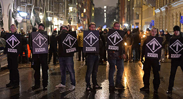 Nordic Resistance Movement activists with shields