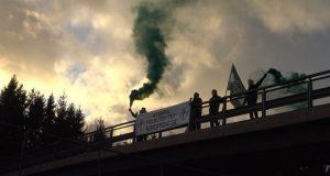 Nordic Resistance Movement banner activity in Stenungsund