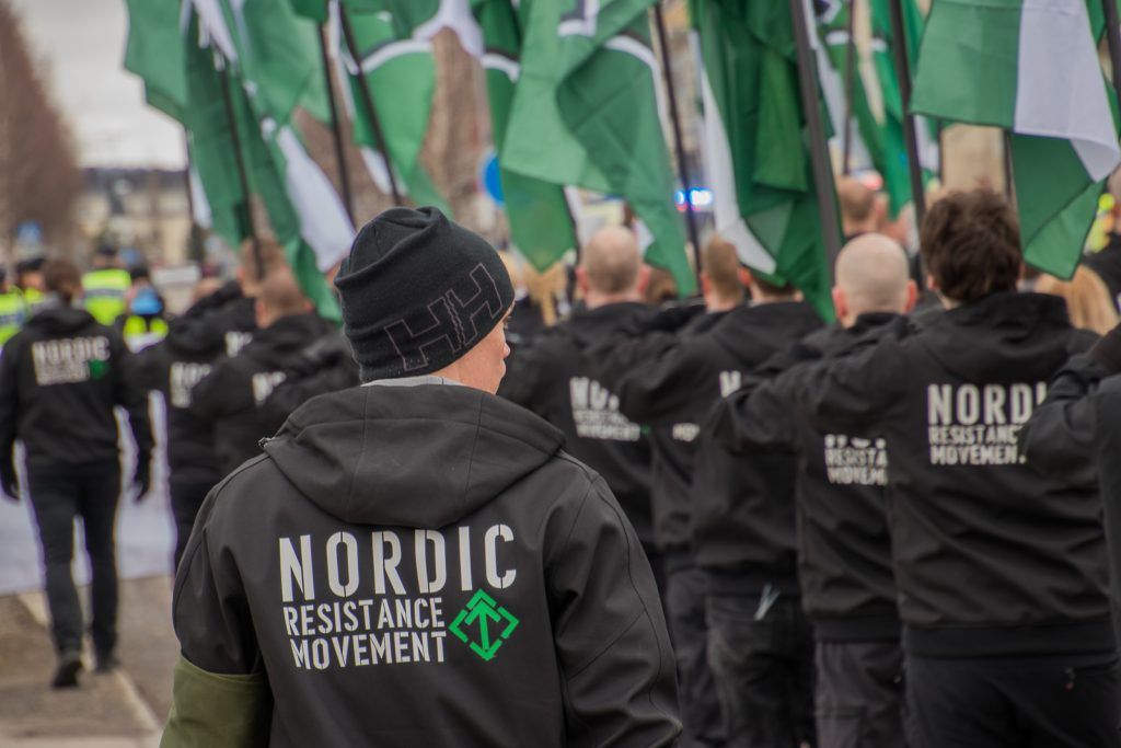 The Nordic Resistance Movement march in Boden on 1 May 2018