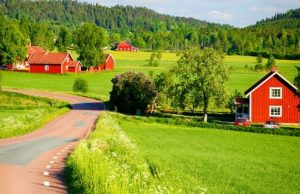Red houses in idyllic Swedish countryside