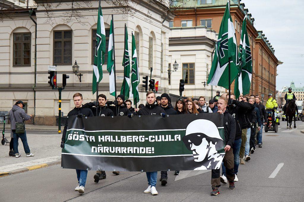 Nordic Resistance Movement members honour the memory of Gösta Hallberg-Cuula in Stockholm, 2019