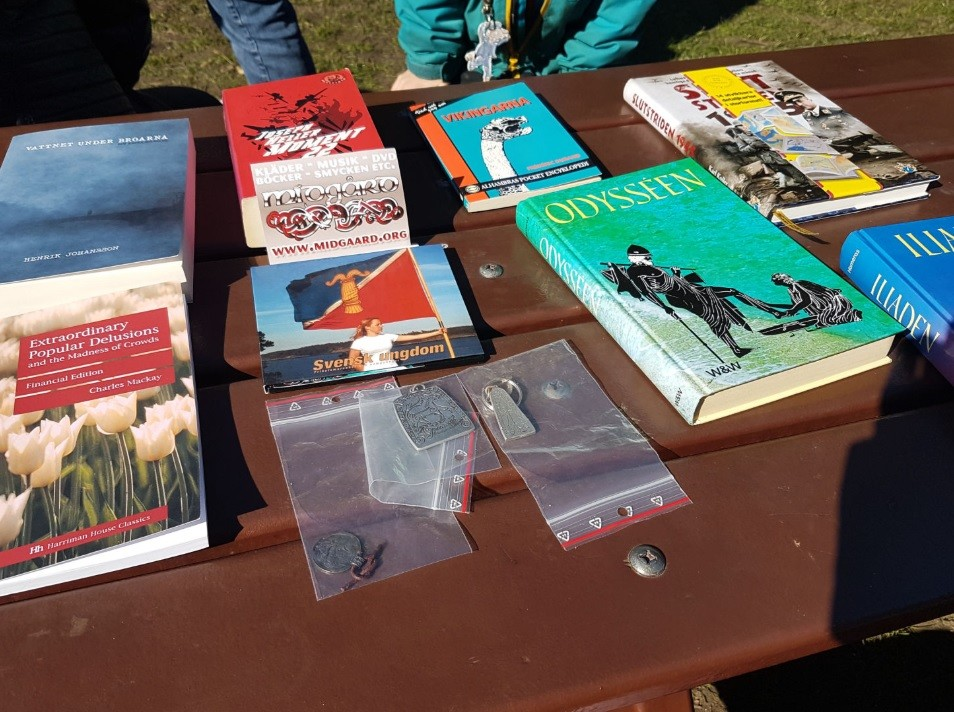 Books on sale at Nordic Resistance Movement Nest 2 family outdoor quiz and barbeque