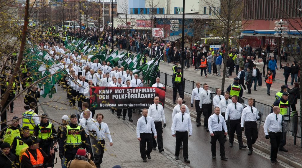 Nordic Resistance Movement march in Borlänge, Sweden
