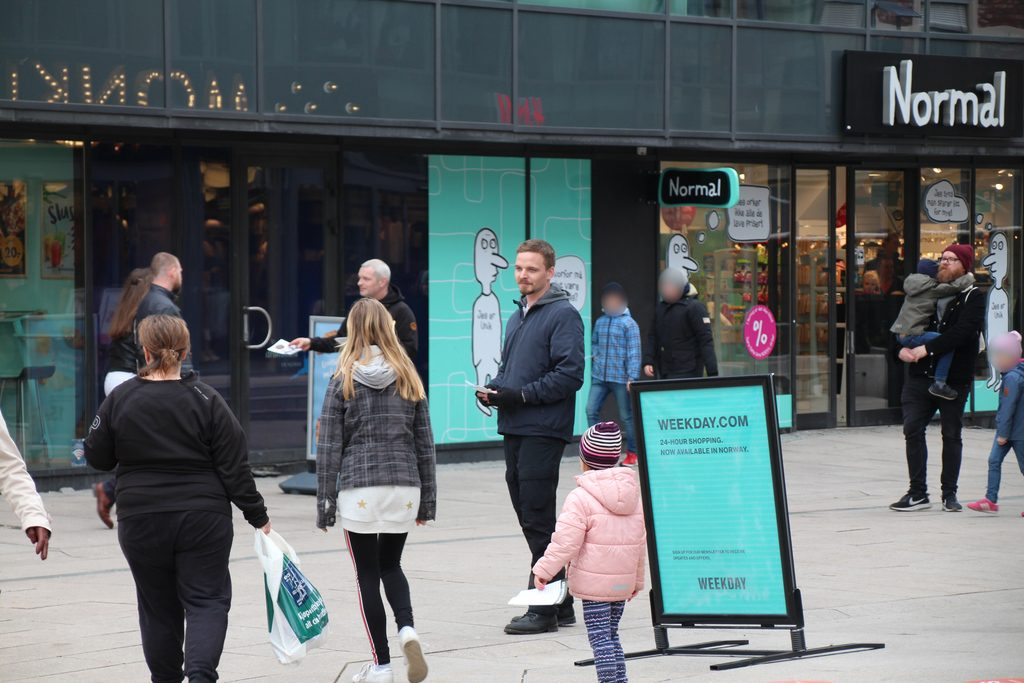 Nordic Resistance Movement leafleting in Fredrikstad, Norway