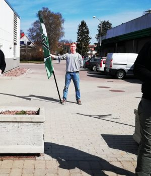 Nordic Resistance Movement activists leaflet in Monsteras, Sweden