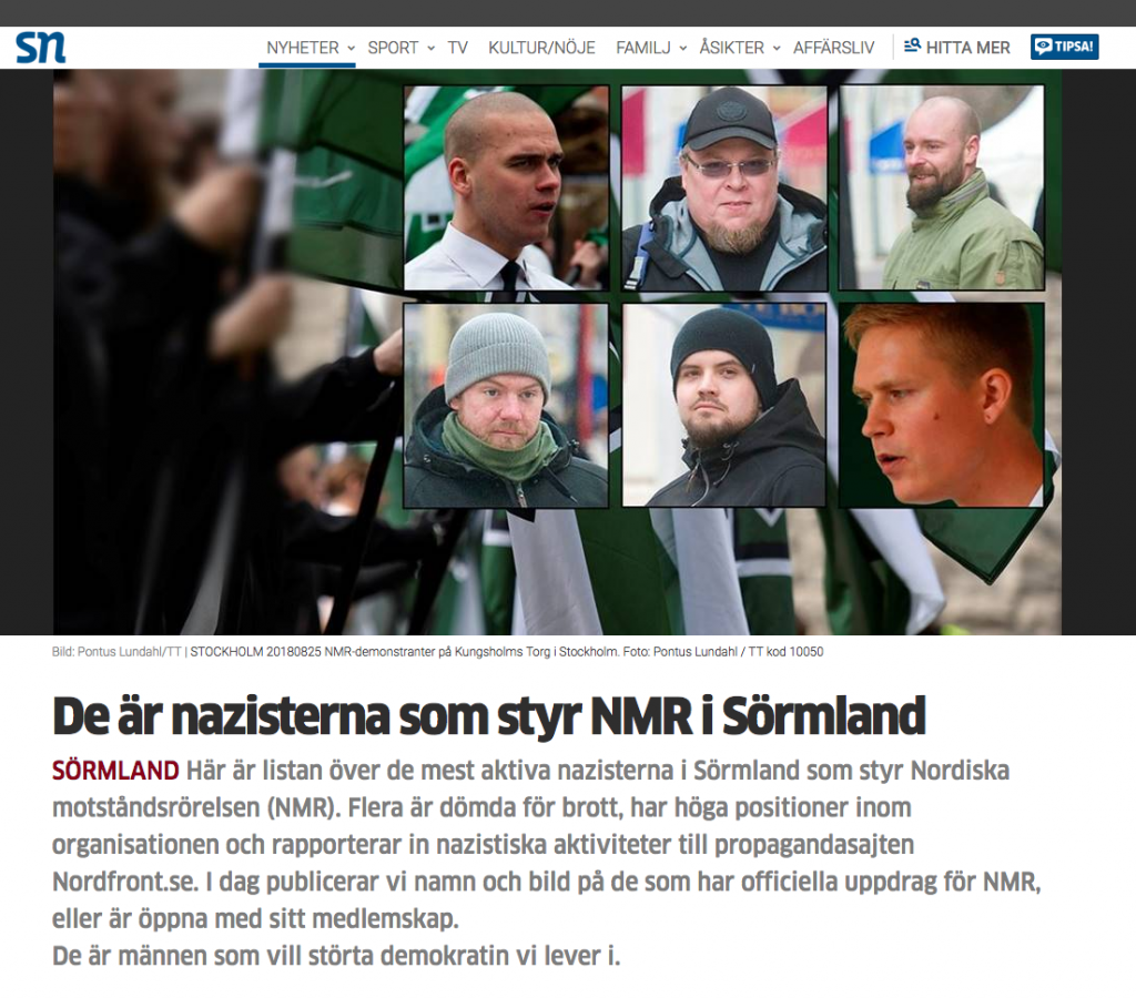 Sörmlands nyheter doxxing article about the NRM