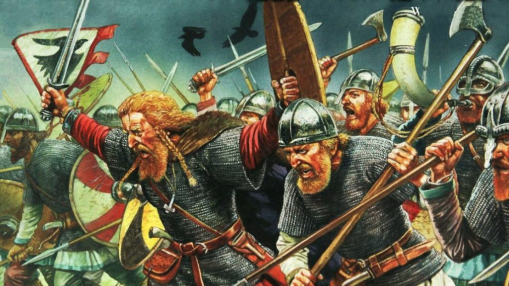 Painting of a Viking army attacking