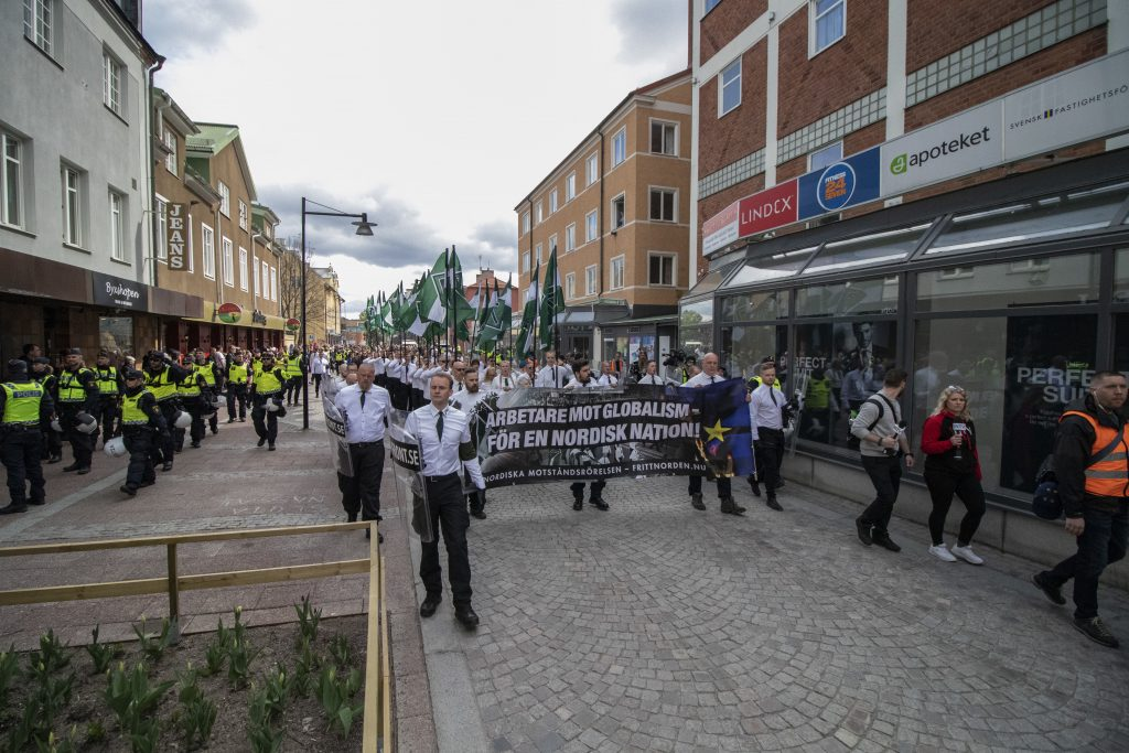 The Nordic Resistance Movement march on 1 May in Ludvika