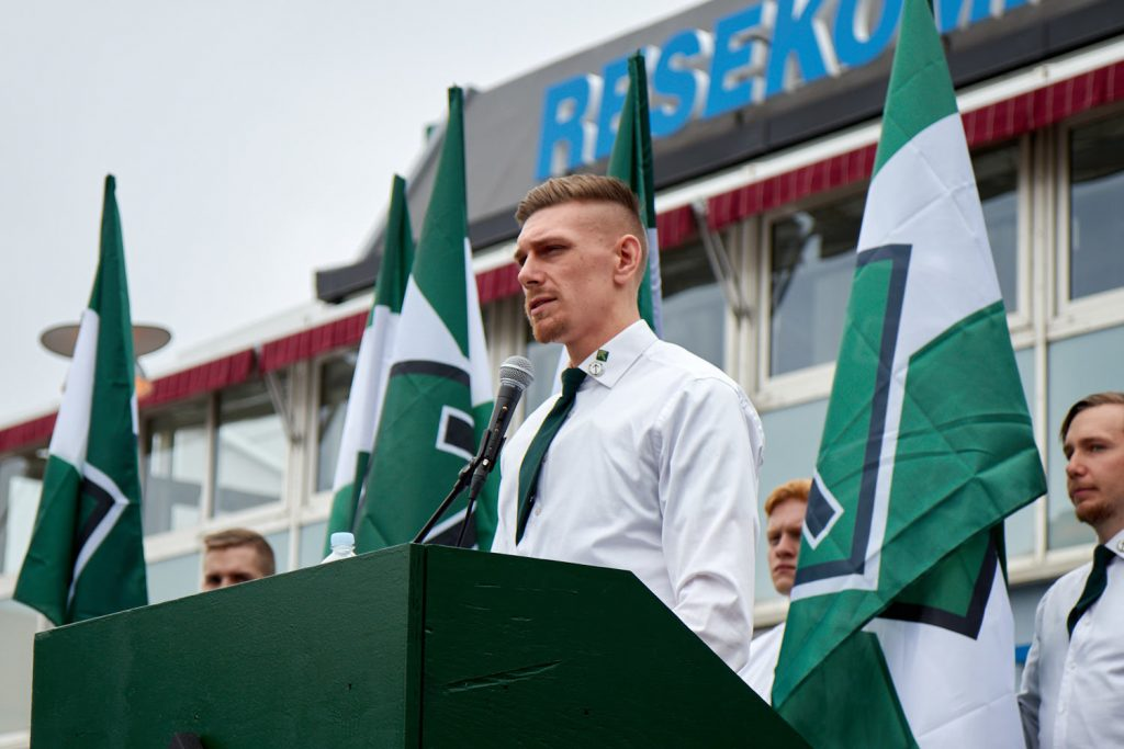 Simon Engelin speaks at the Nordic Resistance Movement 1 May demonstration in Kungalv
