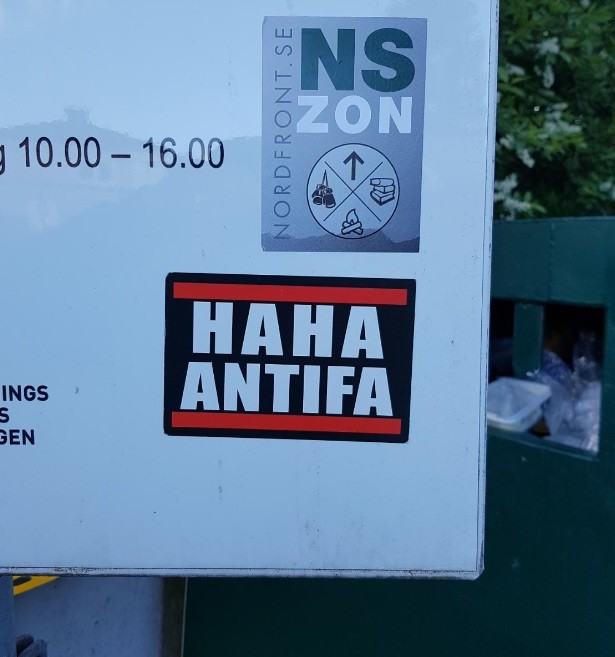 Haha Antifa sticker in Boras