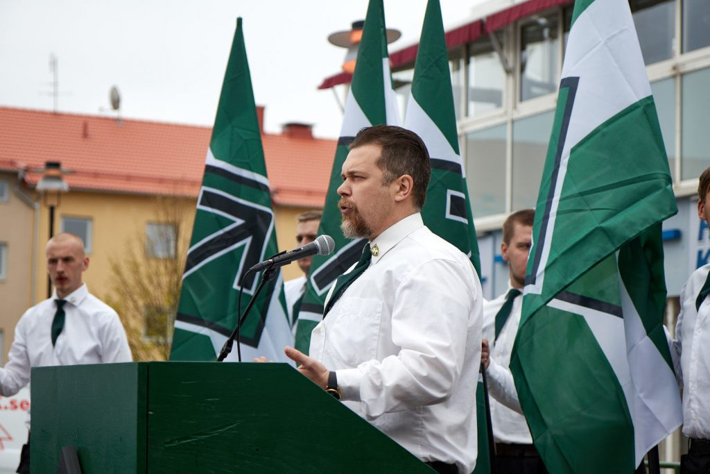 Fredrik Vejdeland speaks at the Nordic Resistance Movement's 1 May demonstration in Kungalv