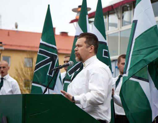 Fredrik Vejdeland speaks at the Nordic Resistance Movement's 1 May demonstration in Kungalv