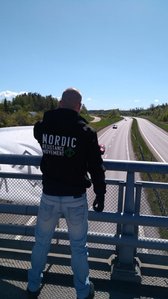 Nordic Resistance Movement banner activity in Hogstorp