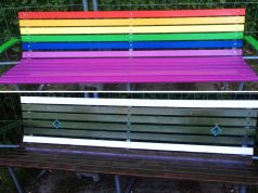 Danish homo lobby bench in Aarhus is repainted by Nordic Resistance Movement members