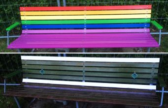 Danish homo lobby bench in Aarhus is repainted by Nordic Resistance Movement members