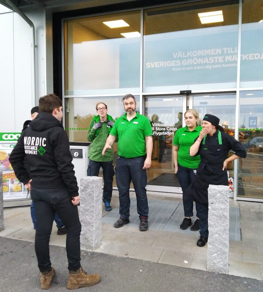 Coop staff trying to stop Nordic Resistance Movement activism in Eslöv