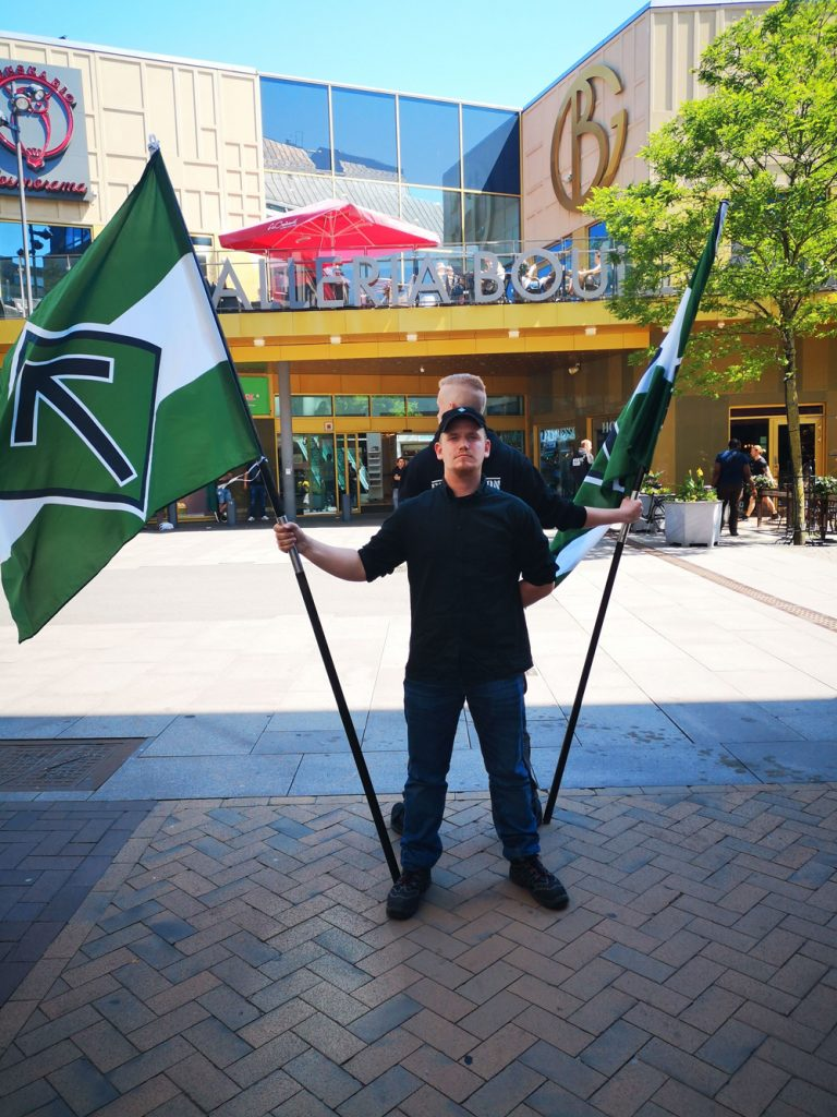Nordic Resistance Movement activism in Kristianstad on Sweden's National Day