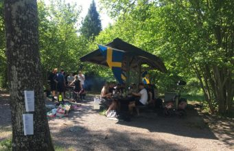 Nest 1 Nordic Resistance Movement members enjoy a family day out on Sweden's National Day