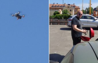 A Left Party member photographs Nordic Resistance Movement activists with a drone