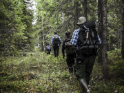 Nest 6 activists hiking in the forests of Boden