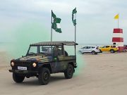 Nordic Resistance Movement jeep on Danish beach
