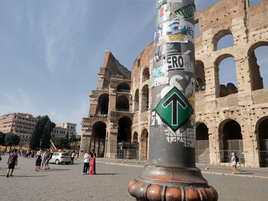 Nordic Resistance Movement sticker at the Colosseum in Rome