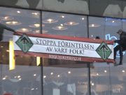 Nordic Resistance Movement banner on the House of Culture, Stockholm