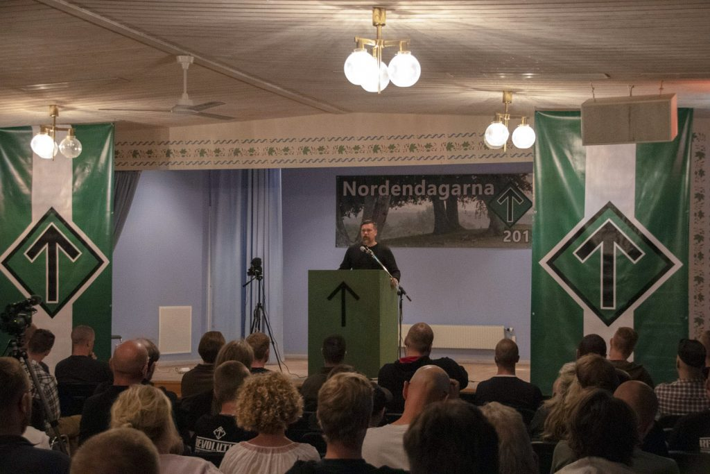 Fredrik Vejdeland speaks at the Nordic Resistance Movement's 2019 Nordic Days