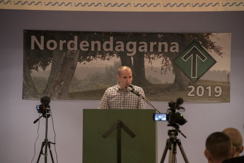 Simon Lindberg speaks at the Nordic Resistance Movement's 2019 Nordic Days