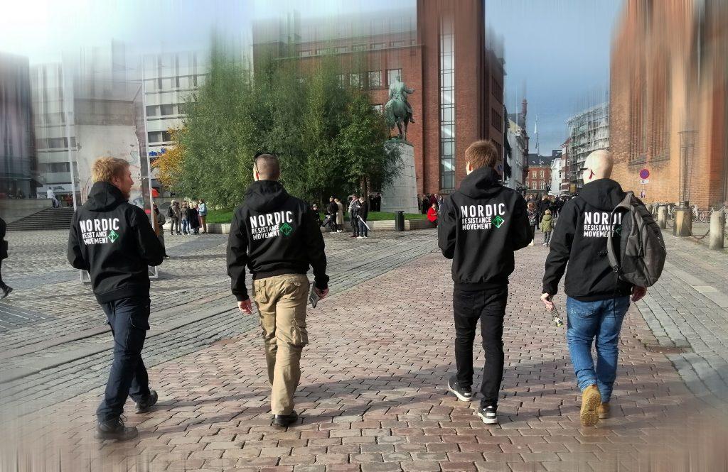 Nordic Resistance Movement activists leaflet in Aarhus, Denmark